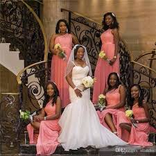2018 African One Shoulder Coral Lace Plus Size Bridesmaid Dresses