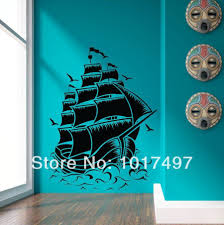 sticker ds picture more detailed picture about free shipping free shipping large size retro pirate ship sail boat vinyl wall decal nautical sea vinyl wall