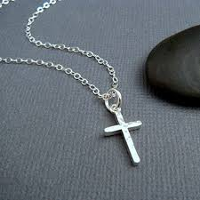 simple silver pendant necklace images Hammered sterling silver cross necklace small simple jpg