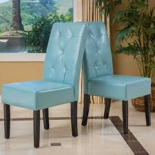 taylor blue bonded leather dining chair set of 2 by christopher