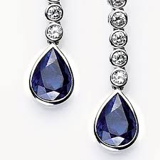 dimond drop sapphire earrings 0 7ct sapphire and 1 6ct diamond drop earrings