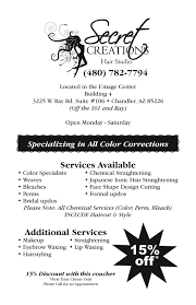 secret creations hair salon in chandler arizona