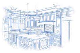 blueprint custom kitchen design drawing on white stock