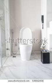 Decoration In Bathroom Bathroom Wall Hanging Towel Interior Stripped Stock Photo