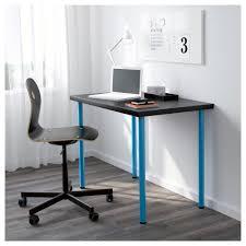 Blue Computer Desk Adils Linnmon Table Black Brown Blue 100x60 Cm Ikea
