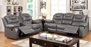 2 pc furniture of america grandolf collection gray bonded leather