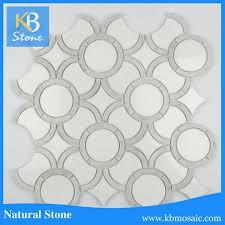 white mosaic shinny surface water jet floor design mosaic