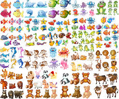 cartoon animals sea creatures and fish vector free for download