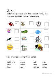 24 free esl blends worksheets th blend kindergarten cl cr fun