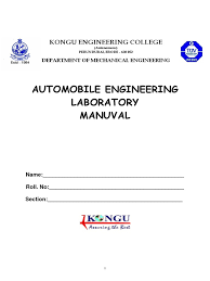 automobile lab manual axle ignition system