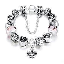 pink glass bead bracelet images Bamoer christmas gift pink butterfly lampwork glass jpg
