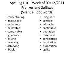 ppt spelling list u2013 week of 09 12 2011 prefixes and suffixes