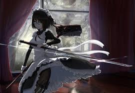 anime wallpapers girls sword fighting image main dress anime glasses green eyes katana kikivi maid