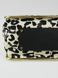 chloe ecru black leopard print fabric medium sally flap bag