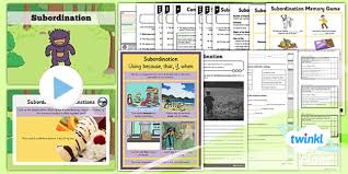 planit y2 spag lesson pack subordination conjunctions