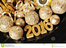 new years 2016 golden numbers and decorations stock photo