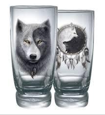 wolf chi yin yang wolf water glass glasses set