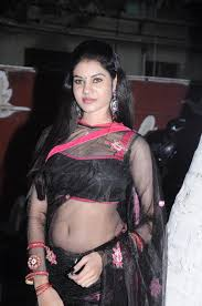 wearing a transparent saree and sleeveless blouse are