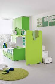 kids room green lacquered wood bunk bed with drawer with round