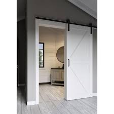 jeff lewis 36 in x 84 in white collar k bar mdf barn door with