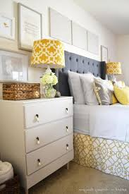 home design decorating ideas gray and yellow bedroom with purple