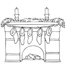 christmas stocking coloring pages fireplace with mantel holding christmas stockings coloring page