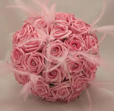 wedding flowers pink bridal bouquets pink feather bridal bouquet silk wedding