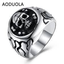 mens vintage rings images Stainless steel skull punk ring big size rings retro vintage biker lar jpg