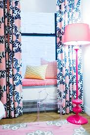 Coral And Navy Curtains Window Seat Contemporary S Room L Kate Interiors