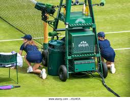 ball girls by umpire s chair ready for action on centre court wimbledon tennis championship 2017