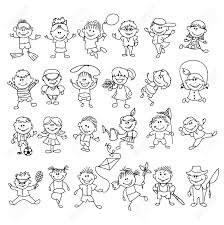 doodle children on vacation boy and cartoon sketch ball
