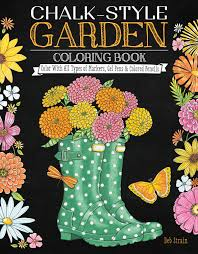 chalk style garden coloring book fox chapel publishing