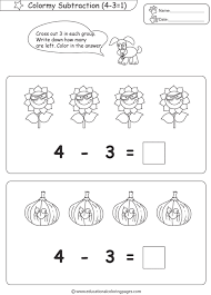 subtraction coloring pages educational fun kids coloring pages