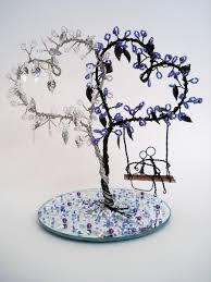 double heart wire art tree wedding decoration cake topper