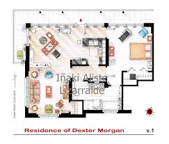 poster featuring the floorplan of dexter morgan u0027s apartment plus