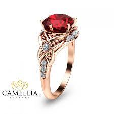ruby engagement rings cushion cut ruby engagement ring 14k rose gold ruby engagement