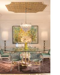 modern chic contemporary dining room glass table wallpapered
