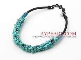 beading cord necklace images Beautiful 6 8mm turquoise chips beaded necklace with black loops cords jpg