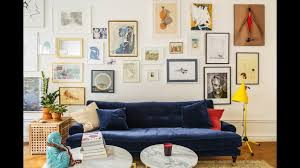 blue velvet sofa colorful eclectic style in scandinavian