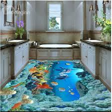 3d ocean floor designs dolphins and corals of ocean waterproof splicing 3d floor murals