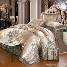 Jacquard Bedding Sets Gold Silver Coffee Jacquard Luxury Bedding Set King Size