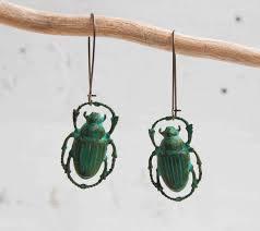 halloween earrings green beetle earrings beetle earrings steampunk beetle jewelry