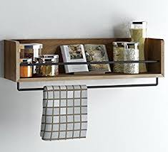 kitchen shelf amazon com rustic kitchen wood wall shelf with metal rail also