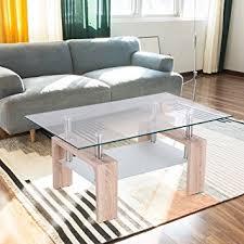 Wooden Living Room Table Tangkula Rectangular Glass Coffee Table Shelf Wood