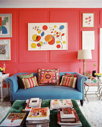 Living Room Blue Sofa by Eclectic Living Room With Blue Sofa And Red Walls Bold Red