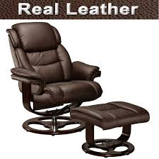 Swivel Chair Leather by Real Leather Recliner Swivel Chairs With Foot Stool Armchair