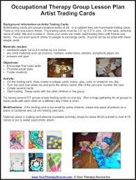ot group lesson plan u2013 trading cards your therapy source