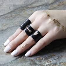 black ring new design finger open ring for women big black rings