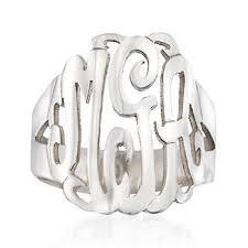 monogram rings sterling silver ross simons sterling silver open script monogram ring 839563