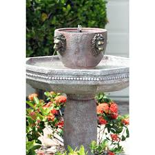 Outdoor Lion Statue by Lions Head Freestanding Outdoor Solar Water Fountain Bird Bath